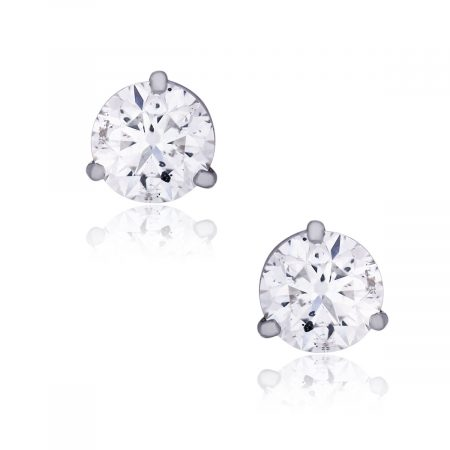 White Gold 3.45ctw Round Brilliant Diamond Stud Earrings