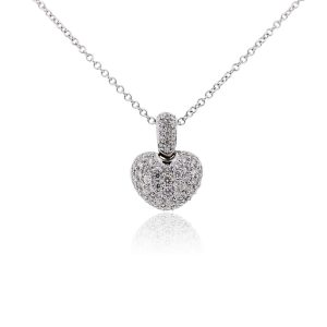 18k White Gold 0.97ctw Diamond Pave Heart Pendant Necklace