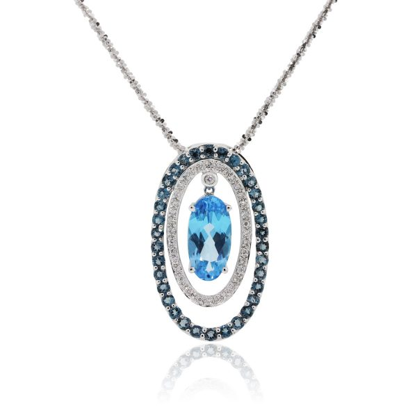 14k White Gold 0.20ctw Diamond and Blue Topaz Pendant On Chain Necklace