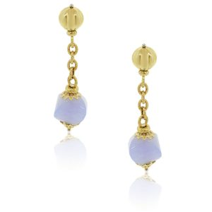 18k Yellow Gold Lavender Jade Dangle Earrings