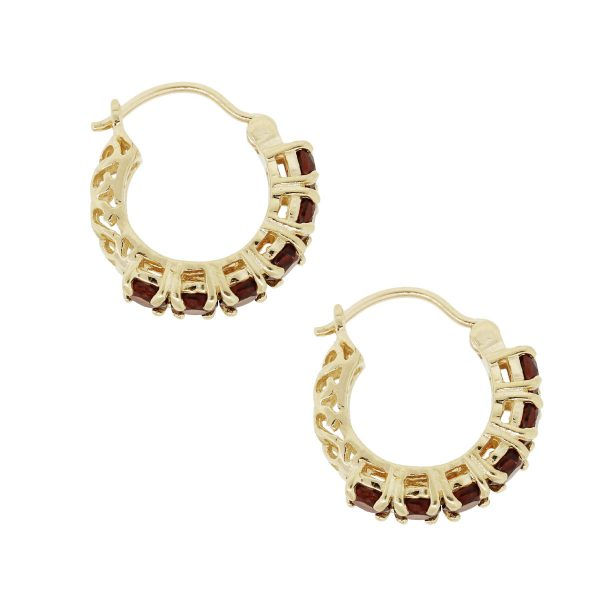 14k Yellow Gold Round Shape Citrine Small Hoop Earrings