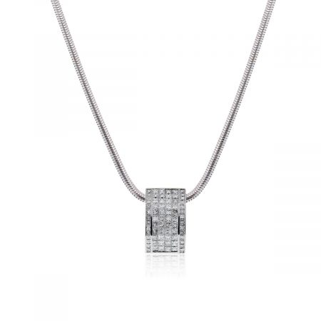 18k White Gold 5.2ctw Princess Cut Diamond Pendant and Snake Chain Necklace