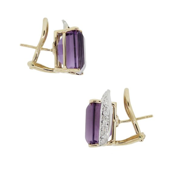 14k Yellow Gold 0.45ctw Diamond and Amethyst Omega Back Earrings