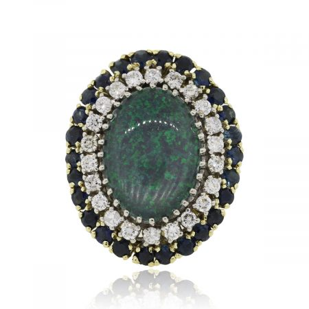 18k Yellow Gold Opal Doublet Sapphire and Diamond Cocktail Ring