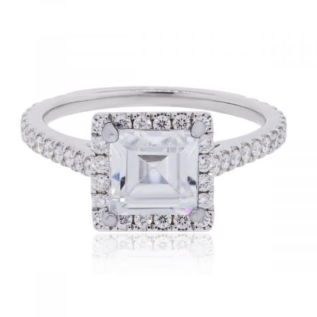 18k White Gold 0.60ctw Diamond With Cubic Zirconia Center Mounting