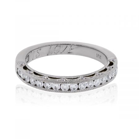 Tacori 18k White Gold 0.40ctw Diamond Reverse Crescent Wedding Band