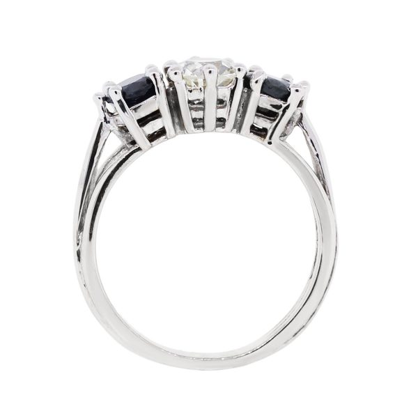 14k White Gold 0.70ct Diamond and 0.80ctw Sapphire Ring