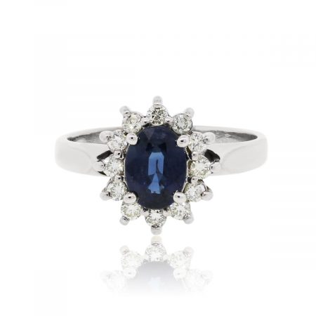 18k White Gold 0.75ct Oval Sapphire and 0.24ctw Diamond Ring