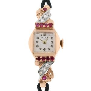 Wirz 14k Rose Gold Diamond and Ruby Antique Watch