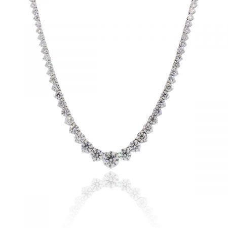18k White Gold 30.81ctw Graduated Diamond Tennis Necklace