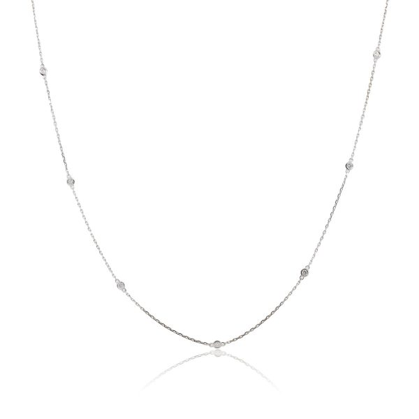 """14k White Gold 0.62ctw Diamonds By The Yard 36"""" Necklace"""