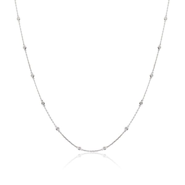 "14k White Gold 0.39ctw Diamonds By The Yard 17"" Necklace"