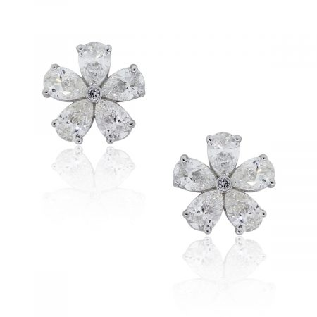 14k White Gold 1.90ctw Diamond Flower Stud Earrings