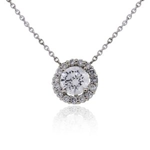 14k White Gold 1.36ctw Diamond Halo Pendant and Cable Chain Necklace