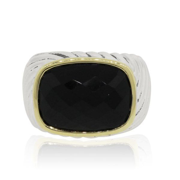 David Yurman Two Tone Faceted Onyx Ring