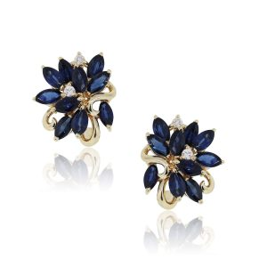 14k Yellow Gold 0.12ctw Diamond and 3ctw Sapphire Marquise Shape Earrings
