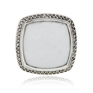 David Yurman Sterling Silver Diamond and White Agate Ring