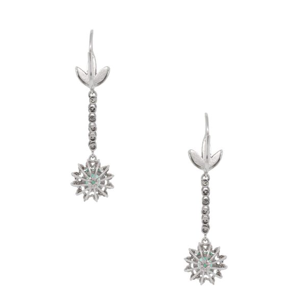 18k White Gold 0.80ctw Diamond and 2.50ctw Emerald Dangle Earrings