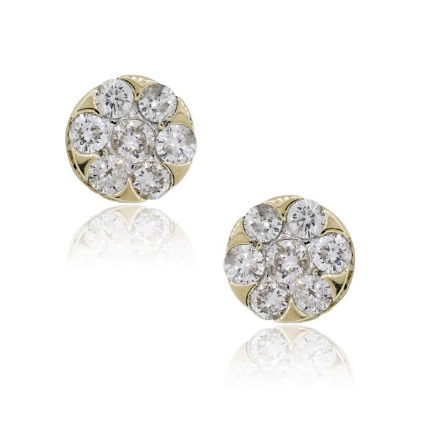 14k Yellow Gold 1.50ctw Round Brilliant Diamond Cluster Earrings