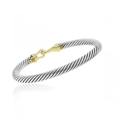 David Yurman 14k Yellow Gold and Sterling Silver Thoroughbred Cable Bangle