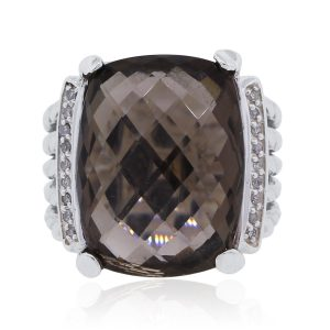 David Yurman Smoky Quartz and Diamond Wheaton Ring