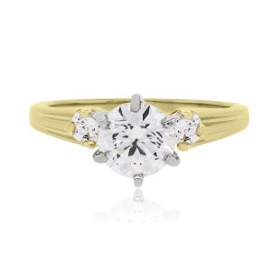 14k Yellow Gold 0.86ctw AGS Certified Diamond Engagement Ring