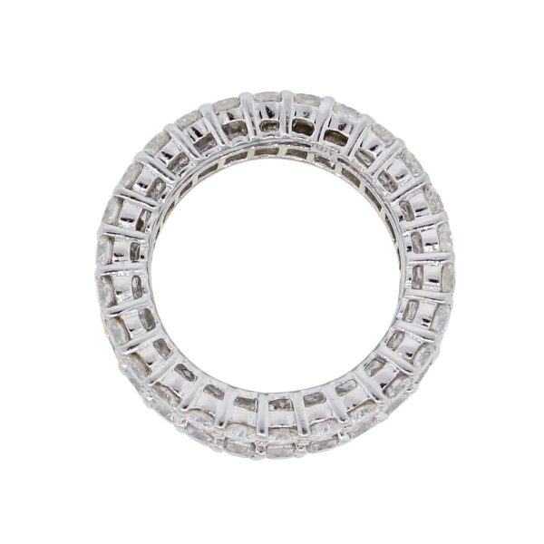 18k White Gold 6.13ctw Baguette and Round Brilliant 3 Row Eternity Band