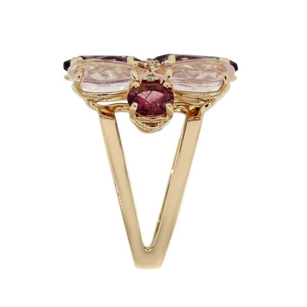 18k Rose Gold 0.10ctw Diamond and Pear Shape Amethyst Cocktail Ring