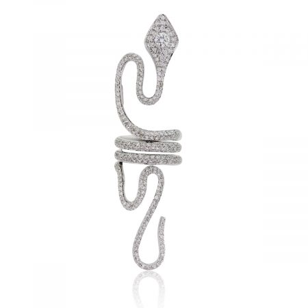 Paolo Piovan 18k White Gold 3.50ctw Diamond Elongated Snake Ring
