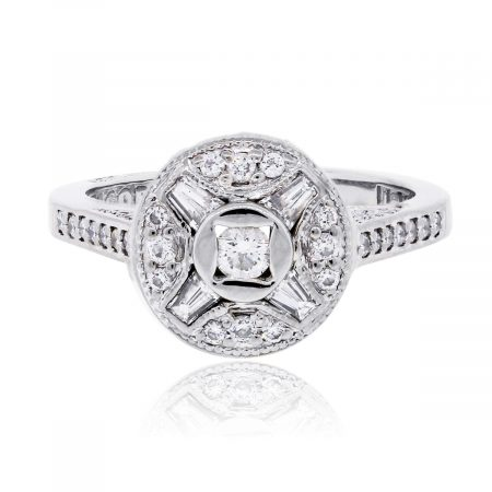Tacori 18k White Gold 0.50ctw Diamond Deco Style Ring
