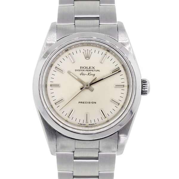 Rolex 14000 Airking Silver Stick Dial Stainless Steel Watch