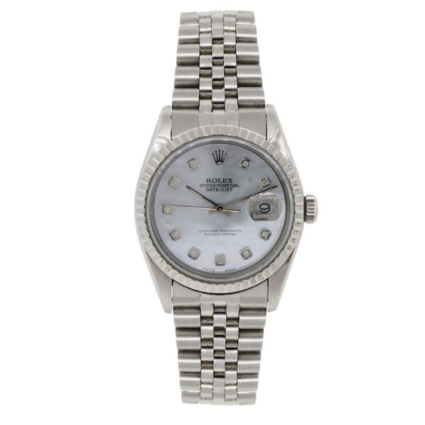 Rolex 16220 Datejust MOP Diamond Dial Stainless Steel Watch