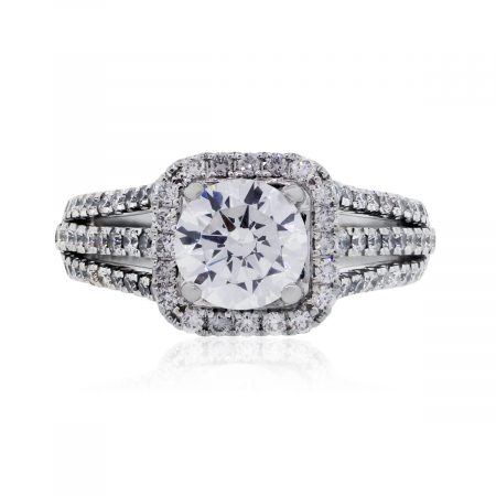 Simon G. 18k White Gold 0.67ctw Diamond 3 Row Halo Pave Engagement Setting