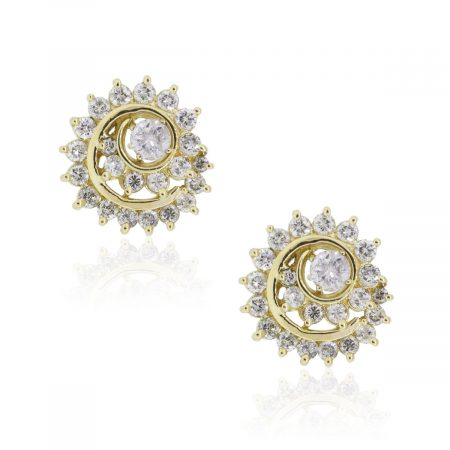 14k Yellow Gold 1.70ctw Diamond Swirly Jacket Stud Earrings