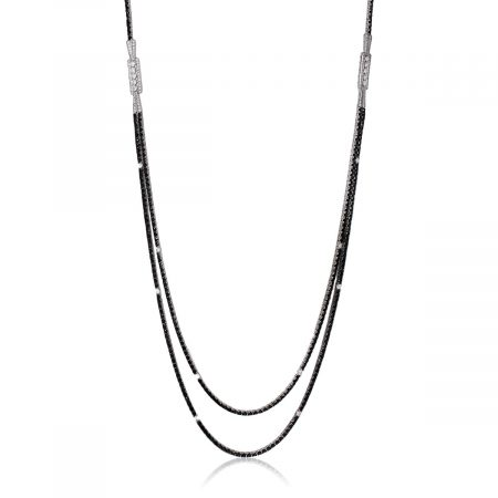 14k White Gold 40.60ctw Diamond Long Thin Double Necklace