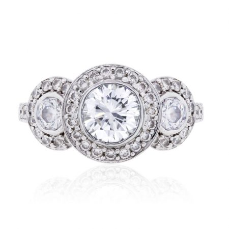 18k White Gold 1.91ctw GIA Certified Round Brilliant Diamond Halo Engagement Ring