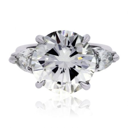 Platinum 5.03ct Round and 0.70ctw Pear Shape GIA Certified Diamond Engagement Ring