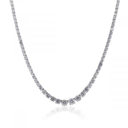 Platinum 17ctw Round Brilliant Diamond Tennis Necklace