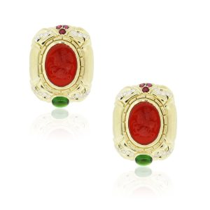 18k Yellow Gold 1.2ctw Diamond, Rubies, Green Tourmaline and Carnelian Intaglio Earrings