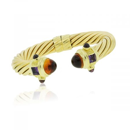 18k Yellow Gold Cabochon Gemstone Cable Bangle