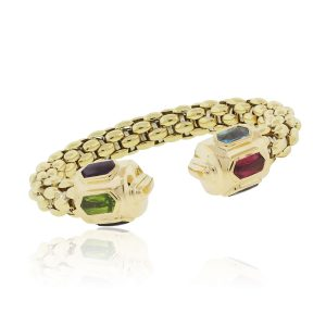 18k Yellow Gold Multi Color Gemstone Woven Bangle