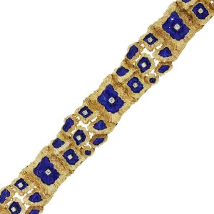 14k Yellow Gold 2.50ctw Diamond and Blue Enamel Bracelet
