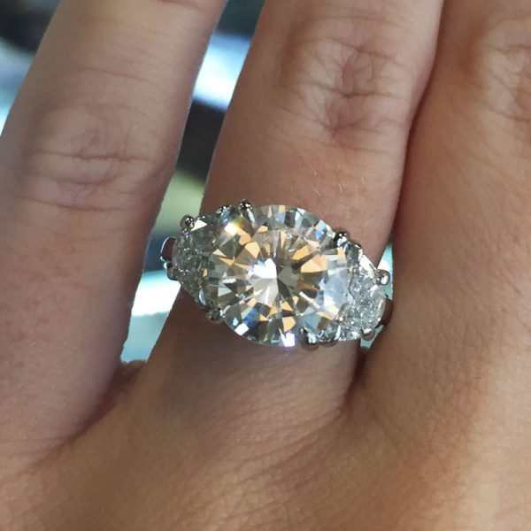 14k White Gold 3.45ct Round and 2ctw Half Moon Shape Diamond GIA Certified Engagement Ring