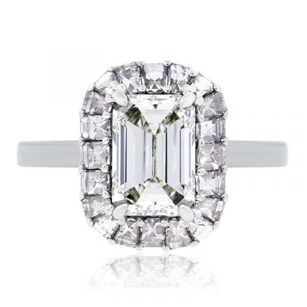 Bez Ambar 1.26ct Emerald Cut and 0.96ctw Diamond Halo GIA Certified Engagement Ring