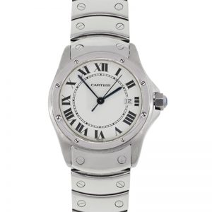 Cartier 1561 Santos Ronde White Dial Stainless Steel Watch