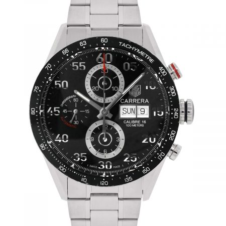 Tag Heuer CV2A10 Calibre 16 Black Chronograph Dial Stainless Steel Watch
