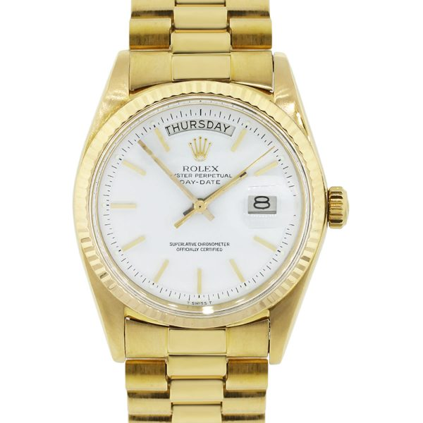 Rolex 1803 Day Date Presidential 18k Yellow Gold White Dial Watch