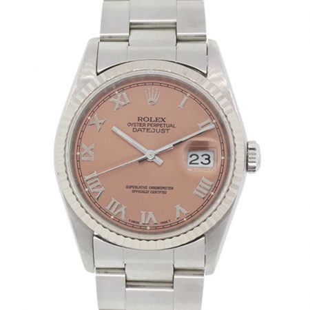 Rolex 16234 Datejust Pink Salmon Roman Dial Stainless Steel Watch
