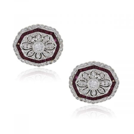 18k White Gold 1ctw Diamond and 1.20ctw Ruby Cufflinks