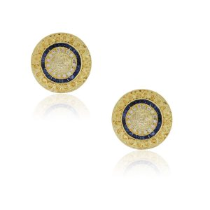 18k Yellow Gold 0.65ctw Diamond and 1.70ctw Sapphire Disc Earrings